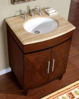 26 Inch Single Sink Vanity with a Unique Pattern on the Doors