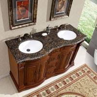 55 Inch Double Sink Vanity with Baltic Brown Top and Undermount White Ceramic Sinks