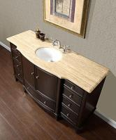 60 Inch Single Sink Vanity with Dark Walnut Finish and Travertine Top
