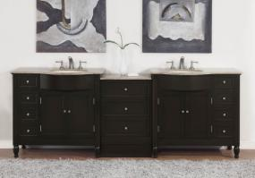 Silkroad Exclusive 95 Inch Double Sink Bathroom Vanity
