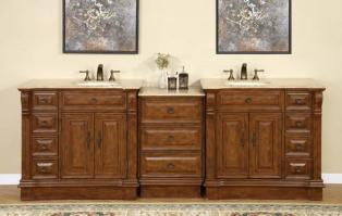 95 Inch Traditional Double Bathroom Vanity with Travertine