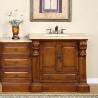 58 Inch Traditional Single Bathroom Vanity with a Travertine Counter Top