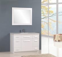 48 Inch Single Sink Bathroom Vanity in White with Quartz Top