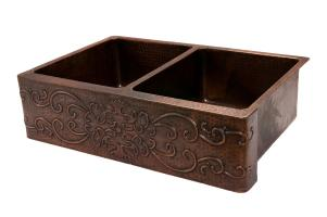 33 Inch Hammered Copper Double Kitchen Apron Front Sink