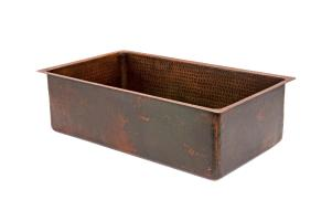 30 Inch Hammered Copper Single Kitchen Sink