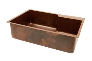 33 Inch Hammered Copper Single Kitchen Sink
