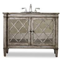 44 Inch Antiqued Single Sink Bath Vanity with Mirror Inlays