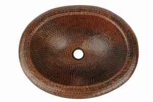 Oval Self Rimming Hammered Copper Sink