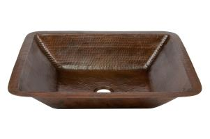 Rectangle Under Mount Hammered Copper Bathroom Sink