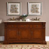 67 Inch Double Sink Bathroom Vanity with Travertine