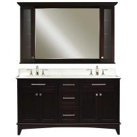 60 Inch Double Sink Vanity with a Dark Espresso Finish and a Carrara White Marble Top