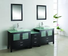 90 Inch Double Sink Vanity With Espresso Finish and Tempered Glass Top