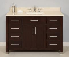 48 Inch Single Sink Modern Dark Cherry Bathroom Vanity with Choice of Counter Top