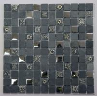 Gray Tempered Glass and Stone Wall Tile