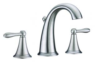 Brushed Nickel Three Hole Bathroom Vanity Faucet