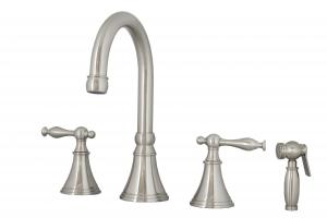 Brushed Nickel Four Hole Kitchen Faucet with Sprayer