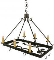 6 Light Pot Rack Wrought Iron Chandelier
