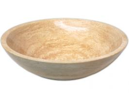 Eden Bath Round Beige Travertine Vessel Sink