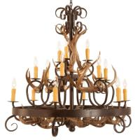 *14 Light Coues Deer Antlers & Wrought Iron Chandelier