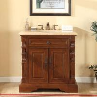 36 Inch Traditional Single Bathroom Vanity with a Travertine Counter Top