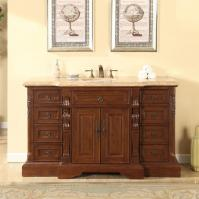 60 Inch Traditional Single Bathroom Vanity with a Travertine Counter Top