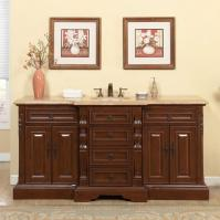 72 Inch Traditional Single Bathroom Vanity with a Travertine Counter Top