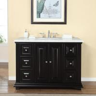 48 Inch Transitional Single Bathroom Vanity with a Carrara White Marble Counter Top