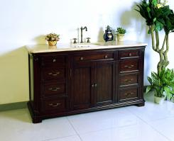 60 Inch Single Sink Bath Vanity in Dark Cherry Brown