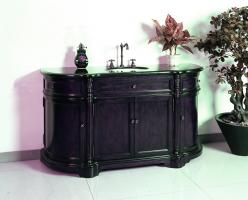 60 Inch Single Sink Bath Vanity with Black Granite Top