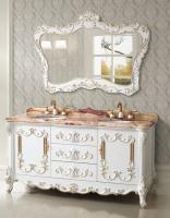 65 Inch Double Sink Bath Vanity with Jade Marble Top