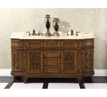 71 Inch Double Sink Bathroom Vanity with Golden Root Beige Marble