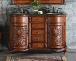 54 Inch Traditional Double Bathroom Vanity with a Baltic Brown Granite Counter Top