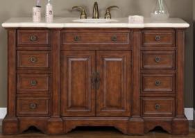 58 Inch Walnut Single Sink Bathroom Vanity