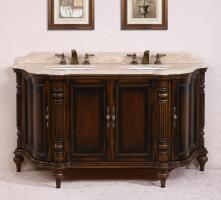 67 Inch Double Sink Bathroom Vanity in Antique Brown