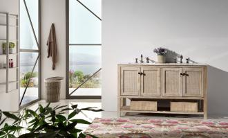 60 Inch Transitional Double Sink Vanity in Rustic White