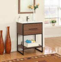24 Inch Modern Single Sink Vanity in Antique Walnut
