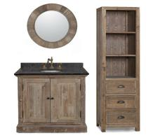 36 Inch Single Sink Bathroom Vanity with Black Marble