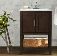 33 Inch Traditional Single Sink Vanity in Coffee Brown