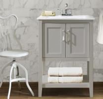 24 Inch Transitional Single Sink Vanity in Gray