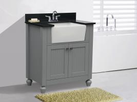 30 Inch Transitional Single Sink Vanity in Gray