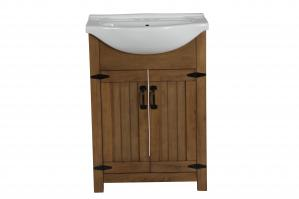24 Inch Transitional Single Sink Vanity in Weathered Light Brown