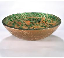 Green and Gold Round Vessel Sink