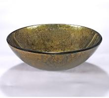 Gold and Green Round Vessel Sink