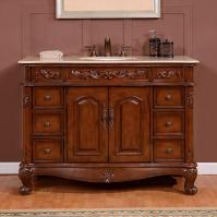 48 Inch Traditional Single Bathroom Vanity with a Cream Marfil Marble Counter Top