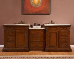 92 Inch Transitional Double Bathroom Vanity with a Cream Marfil Marble Counter Top
