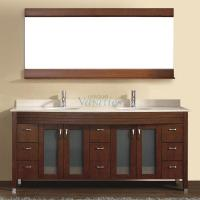 75 Inch Double Sink Bathroom Vanity with Choice of Top in Classic Cherry