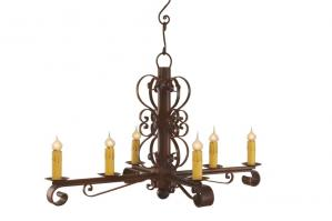 6 Light Colonial Wrought Iron Chandelier